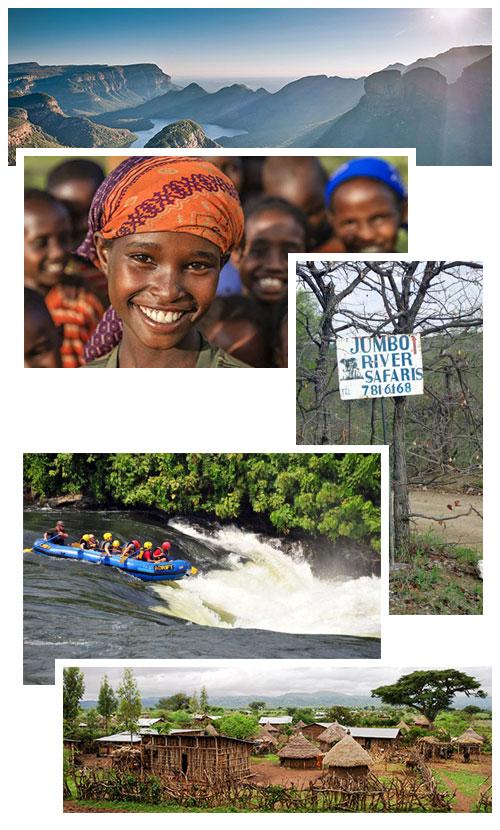 Collage van excursies in Zuid Afrika nabij Kruger Estate