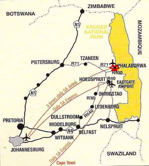 Kaart met vliegtuigroutes naar Phalaborwa in Zuid Afrika